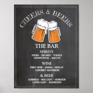 Poster da recepção de casamento do sinal do bar