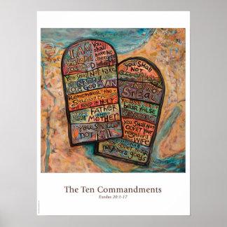 Poster da sala de aula de dez mandamentos