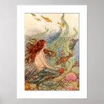 Poster da sereia de Nouveau da arte/impressão 18x2