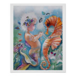 Poster da sereia do bebê e do cavalo de mar