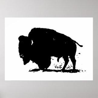 Poster da silhueta do bisonte do búfalo do pop art pôster