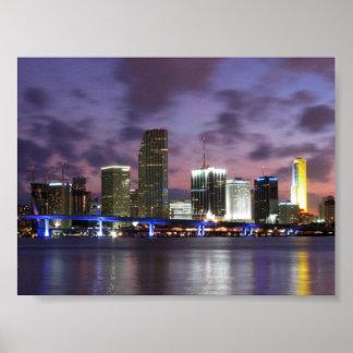 Poster da skyline da noite de Miami