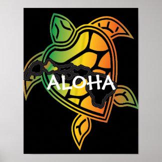 Poster da tartaruga de mar verde da reggae de