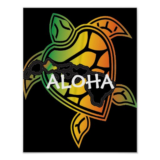 Poster da tartaruga de mar verde da reggae de Hava