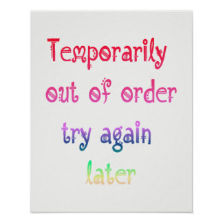 Pôster Da tentativa sinal mais atrasado temporariamente
