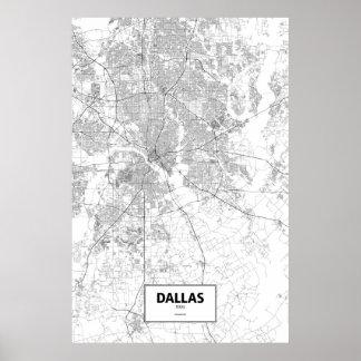 Pôster Dallas, Texas (preto no branco)