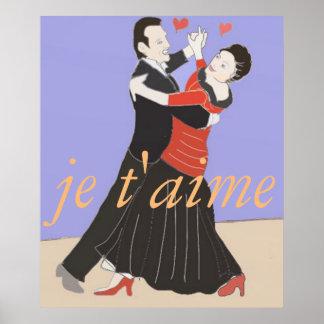 Pôster Dança de salão de baile romântica do casal na cor