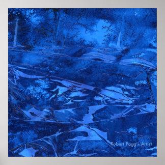 """Pôster Das """"arte abstracta águas profundas #5"""" pelo azul"""