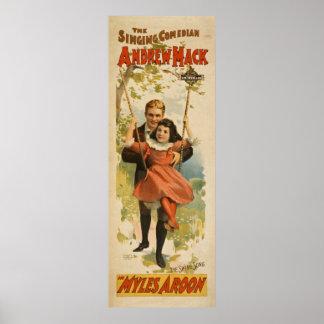 Poster das artes de palco do comediante do vintage pôster