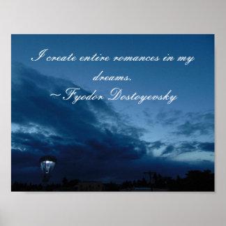 Poster das citações de Dostoyevsky dos sonhos