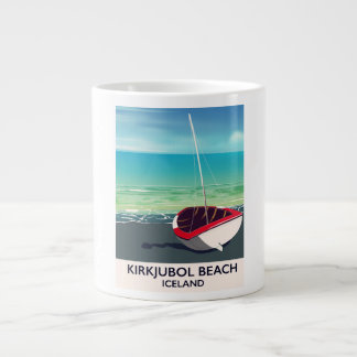 Poster das férias de Islândia da praia de Caneca De Café Grande