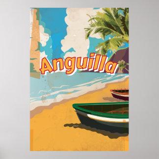 Poster das férias do vintage de Anguilla Pôster