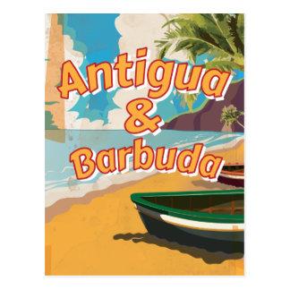 Poster das férias do vintage de Antígua e de Cartão Postal