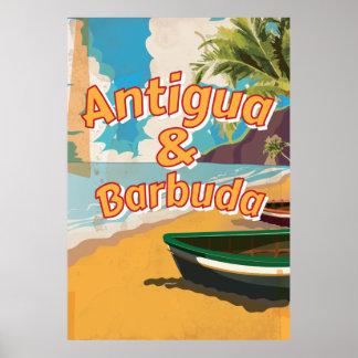 Poster das férias do vintage de Antígua e de Pôster
