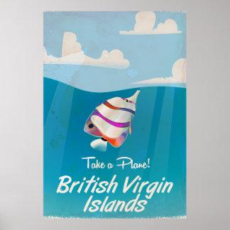 Poster das férias do vintage de British Virgin Pôster