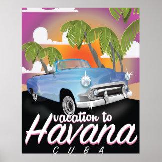 Poster das férias do vintage de Havana, Cuba auto Pôster