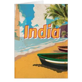 Poster das férias do vintage de India Cartão Comemorativo
