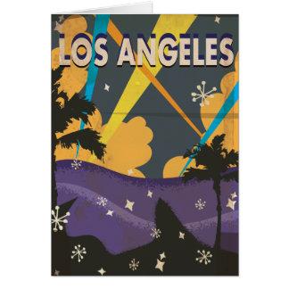Poster das férias do vintage de Los Angeles Cartão Comemorativo