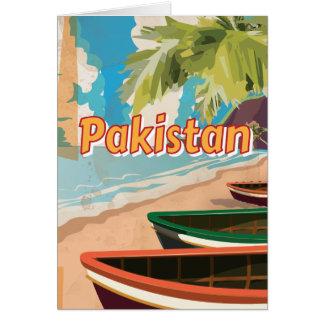 Poster das férias do vintage de Paquistão Cartão Comemorativo