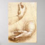 Poster das mãos de da Vinci