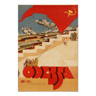 Poster das viagens vintage a Odessa Pôster