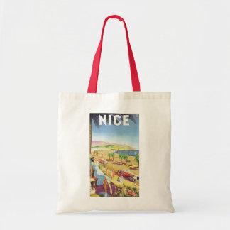 Poster das viagens vintage, agradável, France Sacola Tote Budget