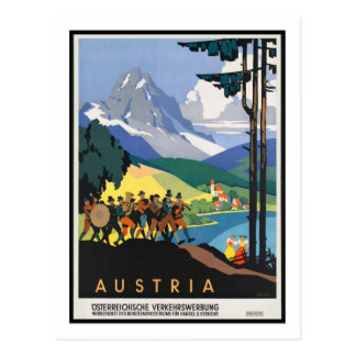 Poster das viagens vintage, Áustria Cartão Postal