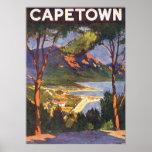 Poster das viagens vintage, Cape Town, África do