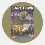 Poster das viagens vintage, Cape Town, África do Adesivos Em Formato Redondos