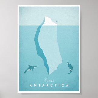 Poster das viagens vintage da Antártica Pôster