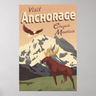 Poster das viagens vintage da montanha de
