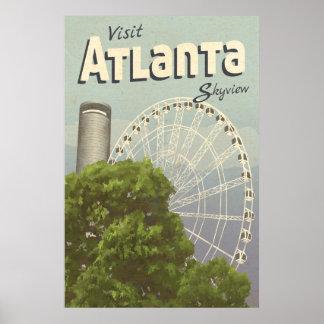 Poster das viagens vintage da roda de Atlanta