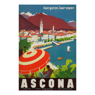 Poster das viagens vintage da suiça de Ascona Pôster