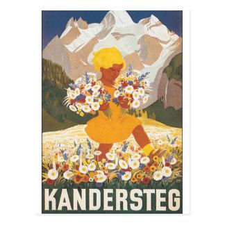 Poster das viagens vintage da suiça de Kandersteg Cartão Postal