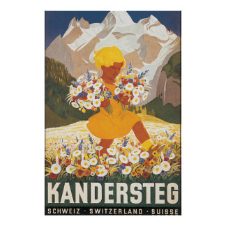 Poster das viagens vintage da suiça de Kandersteg Pôster