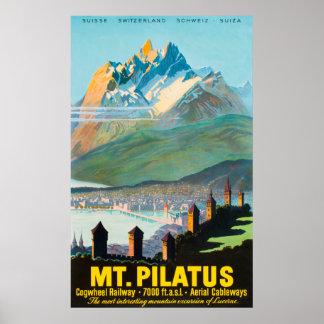 Poster das viagens vintage da suiça de Mt.Pilatus