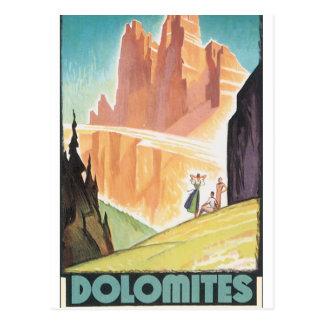 Poster das viagens vintage das dolomites cartão postal
