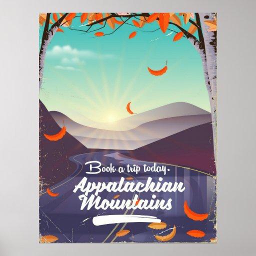Poster das viagens vintage das montanhas apalaches