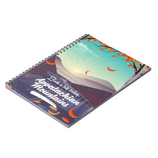 Poster das viagens vintage das montanhas apalaches caderno
