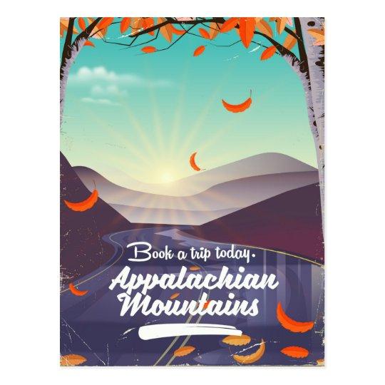 Poster das viagens vintage das montanhas apalaches cartão postal