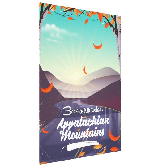 Poster das viagens vintage das montanhas apalaches impressão em tela