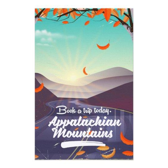 Poster das viagens vintage das montanhas apalaches papelaria