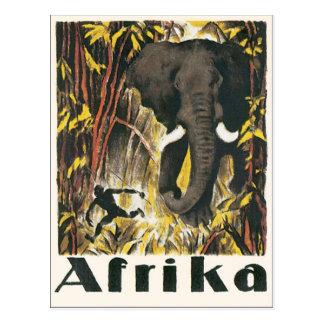 Poster das viagens vintage de Afrika Cartão Postal