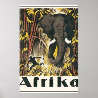 Poster das viagens vintage de Afrika Pôster