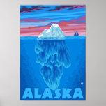 Poster das viagens vintage de AlaskaIceberg