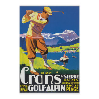 Poster das viagens vintage de Alpin do golfe Pôster