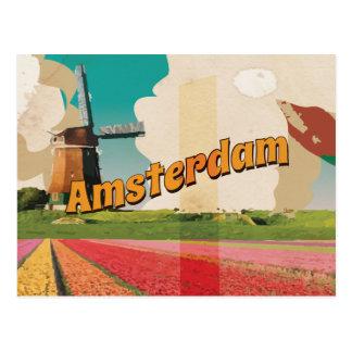 Poster das viagens vintage de Amsterdão Cartão Postal