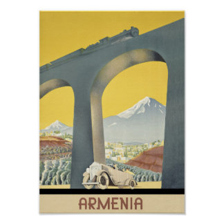 Poster das viagens vintage de Arménia
