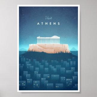 Poster das viagens vintage de Atenas