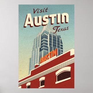 Poster das viagens vintage de Austin Texas